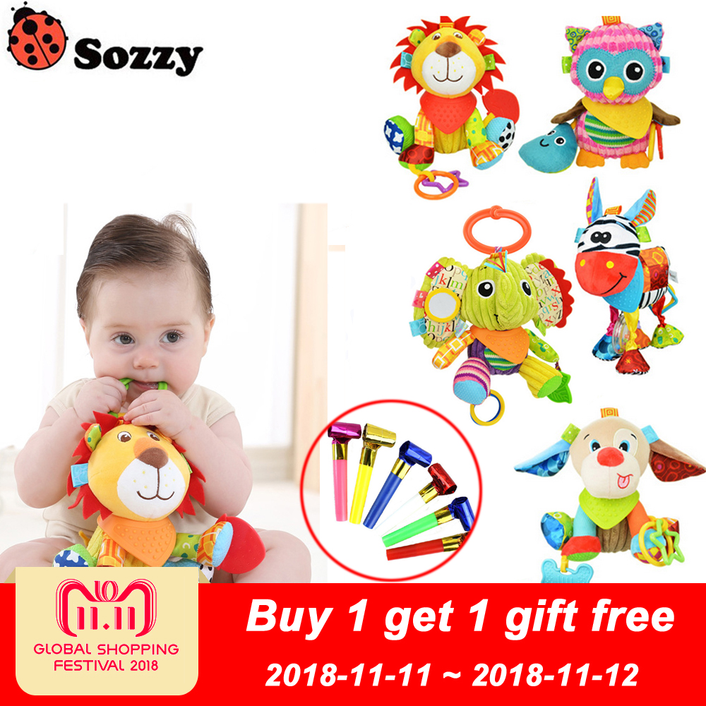 Sozzy Multifunctional Baby Toys Rattles Mobiles Soft Cotton Infant Pram Stroller Car Bed Rattles Hanging Animal Plush Toys hot infant toys baby crib revolves around the bed stroller playing toy car lathe hanging baby rattles mobile 0 12 months new