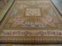 Miễn phí vận chuyển 9'x11. 'mũi kim rug, handmade thảm, 100% New Zealand Len chất lượng cao, hoa hồng màu hồng