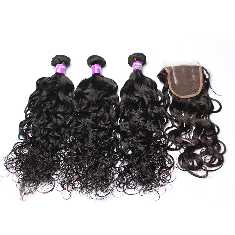 Water Wave Bundles With Closure 4Pcs Brazilian Hair Weave Bundles With Closure Remy Water Wave 3 Bundles With Closure CARA Hair