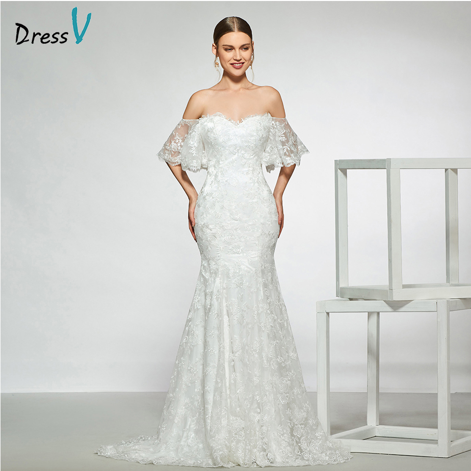 Dressv Elegant Off The Shoulder Wedding Dress Short Sleeves Mermaid Lace Floor Length Simple Bridal Gowns Wedding Dress