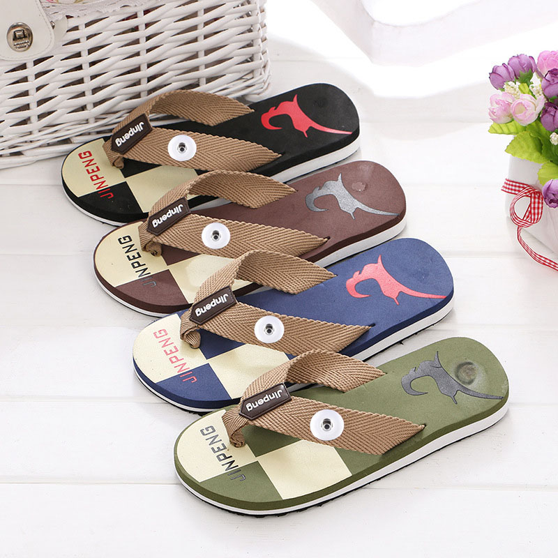 4Colors Flat Flip Flops Mens Slippers Casual Summer Shoes Fashion Beach Mens Sandals Flip Flops With 18mm Charm Snap Button