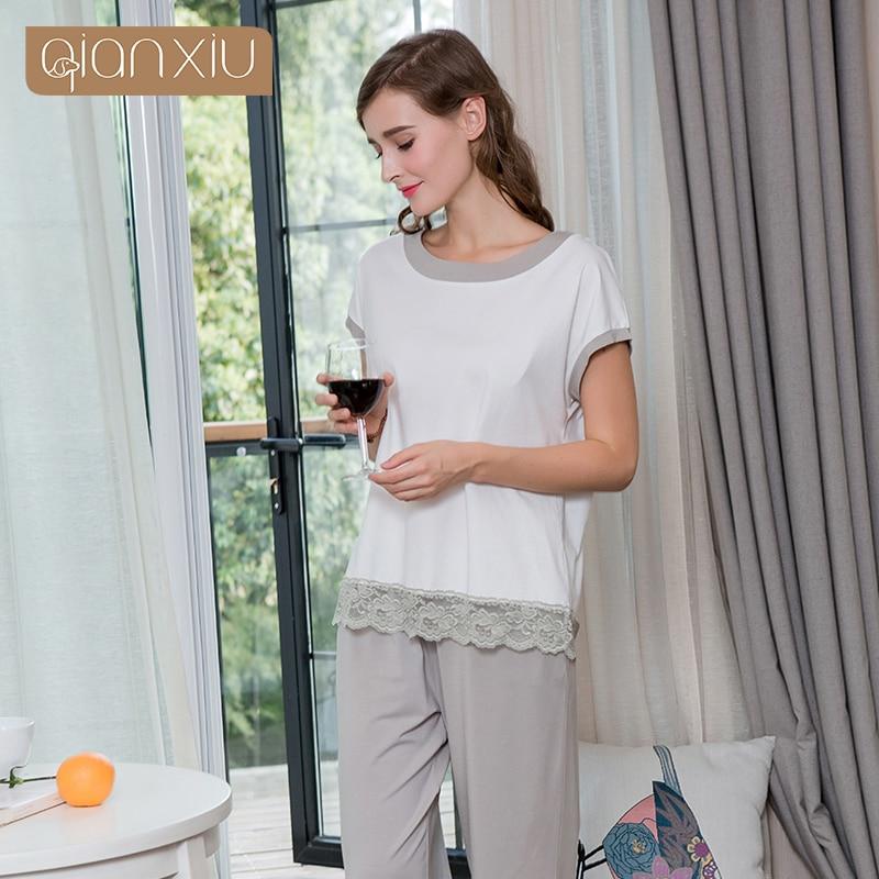 Summer Homewear Female Lace Patchwork Pajama Sets Women Round Collar T Shirt & Calf Length Pants Ladies Sleepwear Suit