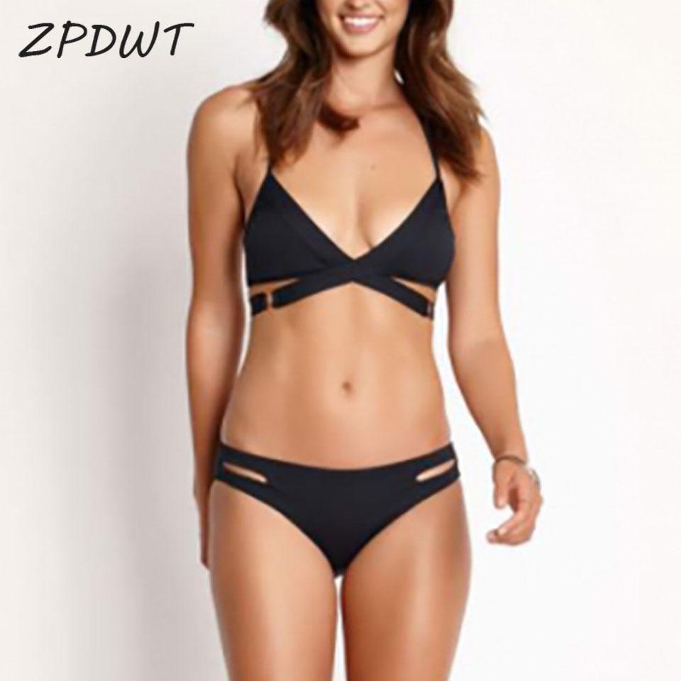 f73a079571eea ZPDWT Sexy Bikini Criss Cross Swimwear Women Cut Out Swim Bathing Suit Low  Waist Swimsuit Summer Beachwear Black Bikini Plavky