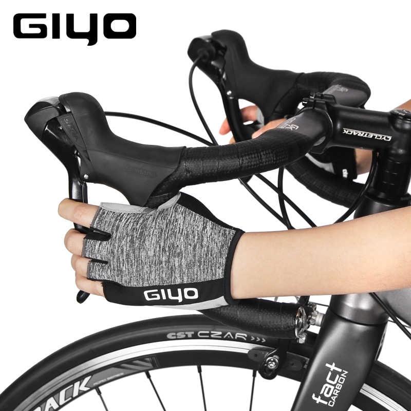Giyo pół jazda palcami na rowerze rękawice elastyczny materiał wiatr łamanie szosowy rower wyścigowy rękawiczki mtb rowerowe wędkowanie bieganie Outdoor Glove