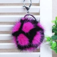 Genuine Rex Rabbit Fur Ball Keychain Plush Car Key Ring Bag Pendant Fur Pom Fluffy Strapchain