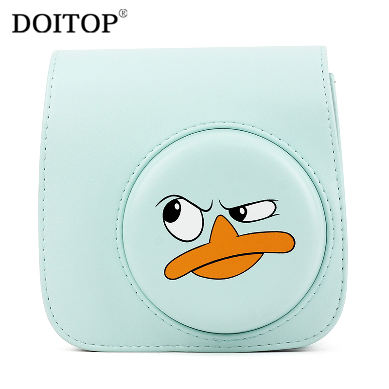 DOITOP PU Leather Cute Camera Bag For Polaroid Fuji Fujifilm Instax Mini 8 8+ 9 Retro Fashion Protective Case For Instant Camera