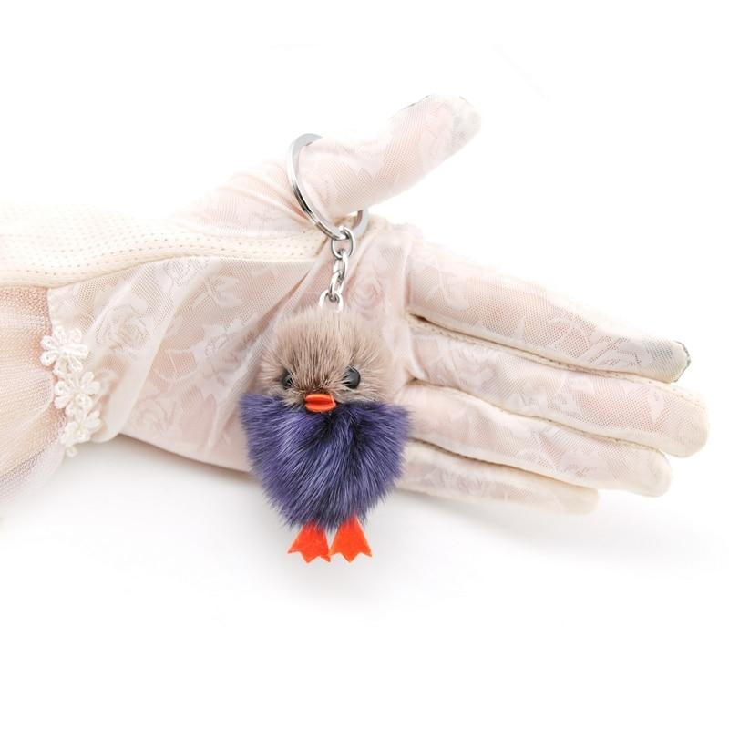 Upouusi söpö fluffy ankka avainketju naiset aito mininki turkis - Muotikorut - Valokuva 3