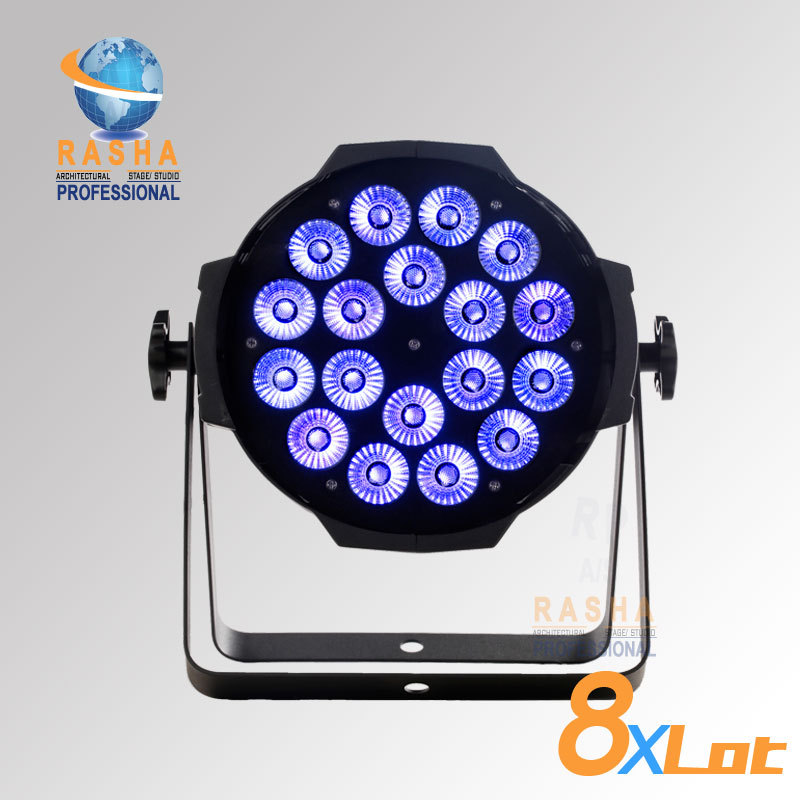 8X LOT Dropshipping 18pcs*10watts (4in1)Quad Color RGBW/RGBA LED Par Can DMX RGBW Stage LED Par Light 8x lot hot rasha quad 7 10w rgba rgbw 4in1 dmx512 led flat par light non wireless led par can for stage dj club party