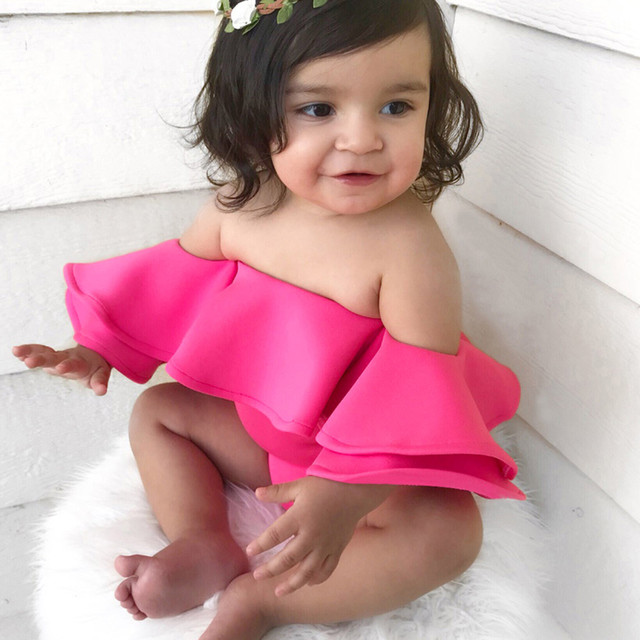 Lovely Pink Baby Girl Clothes 2019 Summer Infant Baby Girls Sleeveless Off Shoulder Solid Jumpsuit Romper Clothes Costume @30