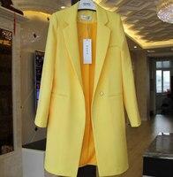 Brief OL Solid Hidden Breasted Long Women Suits Blazer feminino jacket Ladies Plus Size Pockets Business Blaser mujer