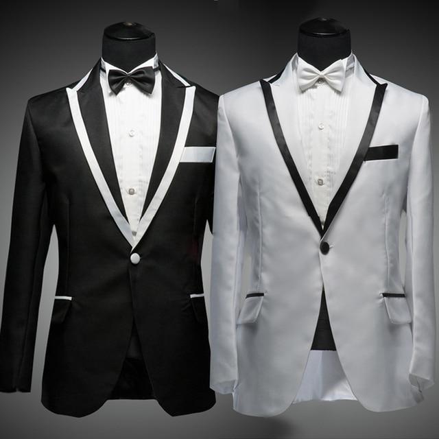Traje blanco negro de solapa hombres conjunto blanco chaqueta con negro recorte traje de boda escenario negro de acogida y blanco para hombre trajes ( chaqueta + Pant )