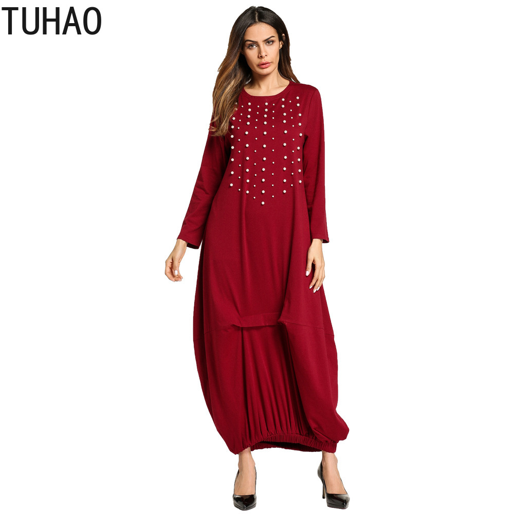 Nailed Pearl Beading Middle East Muslim Robe Woman's Clothes Long Dresses Wine red Long Sleeve Elegant Maxi Dresses T5705