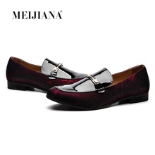 MEIJIANA British Style Patent Leather Loafers Handmade Patchwork Mens Summer Casual Shoes Slippers Flats