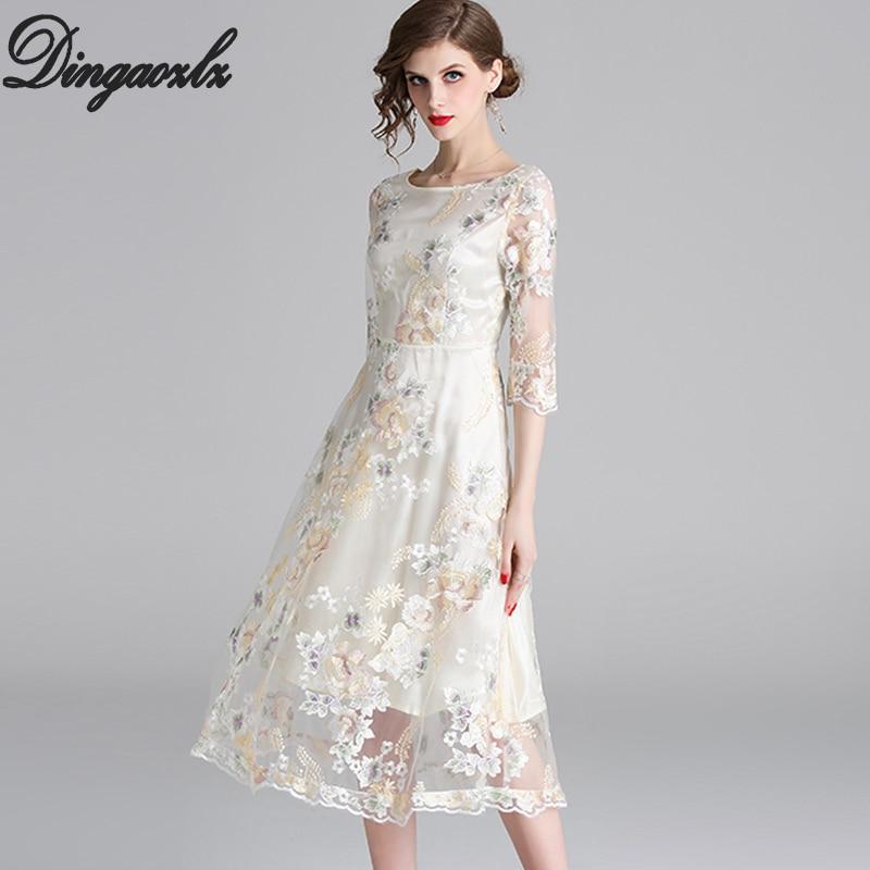 729f527dbb Hot Sale] Dingaozlz New Mesh embroidered Lace dress Elegant Slim ...