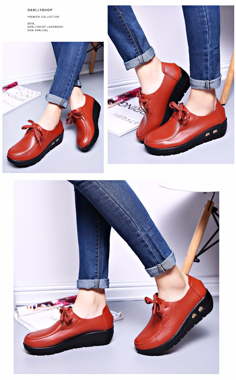 Women Oxfords Leather Shoes New Arrival Round Toe Lace Up Casual Women Flats Size 35-41 Flat Heels Platform Ladies Shoes NX27 (17)