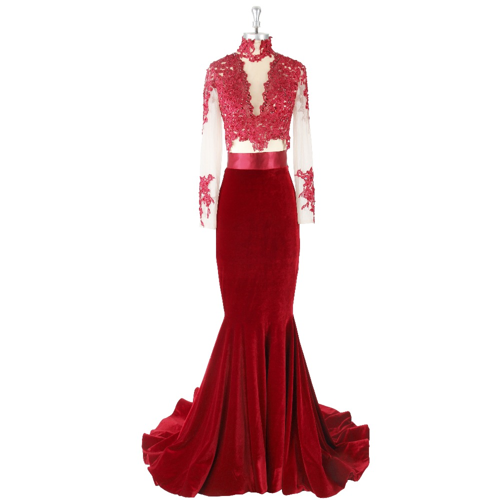 2017 Sexy Burgundy Long Sleeves High Neck Zipper Floor-length Sweep Train Sequins Appliques Satin Formal   Prom     Dress   Evening