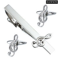 Hawson音楽カフスセットノベルティ金属ジュエリータイクリップカフス用シャツウェディングギフト付きボックス