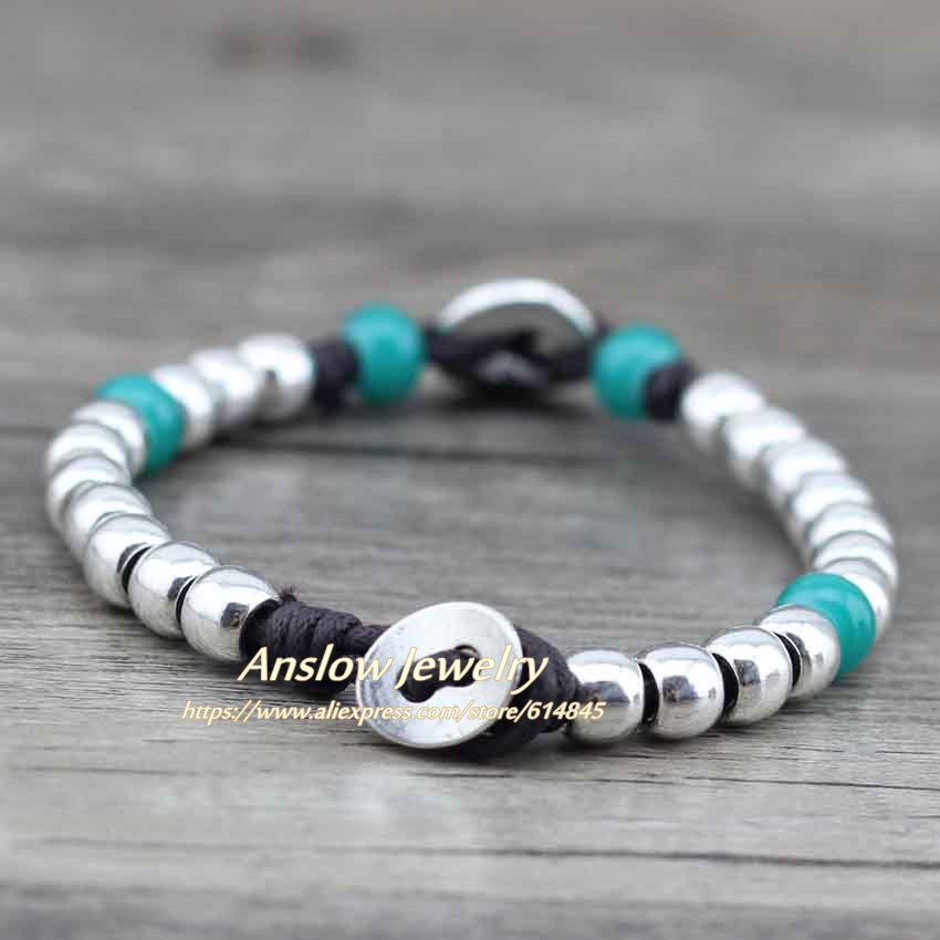 Anslow 17 Best Selling New Design Vintage Retro Silver Plated Zinc Alloy Beads Best Friend Friendship Rope Bracelet LOW0455LB 3
