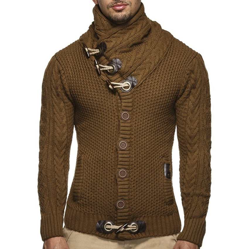 2018 Autumn & Winter Fashion Mens Button Sweaters Male Thick Stand Collar Pullover Full Sleeves Slim Solid Mens Sweaters Coats