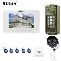 JERUAN 7 Inch Video Door Phone Intercom System Kit 1 White Monitor Metal Panel Waterproof Password