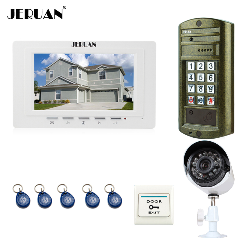 JERUAN 7 inch Video Door Phone Intercom System kit 1 White Monitor+ Metal panel waterproof password keypad HD Mini Camera 2V1 jeruan home 7 inch video door phone intercom system kit new metal waterproof access password keypad hd mini camera 2 monitor