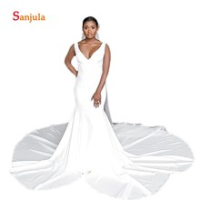 Sunzeus White Satin Mermaid Wedding Dresses 2019 Backless