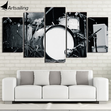 HD printed 5 piece Canvas Art Modular Drums and Sticks Painting Black and White Music Instrument