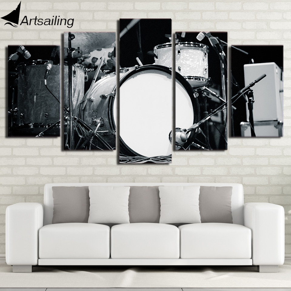 HD printed 5 piece Canvas Art Modular Drums and Sticks Painting Black and White font b