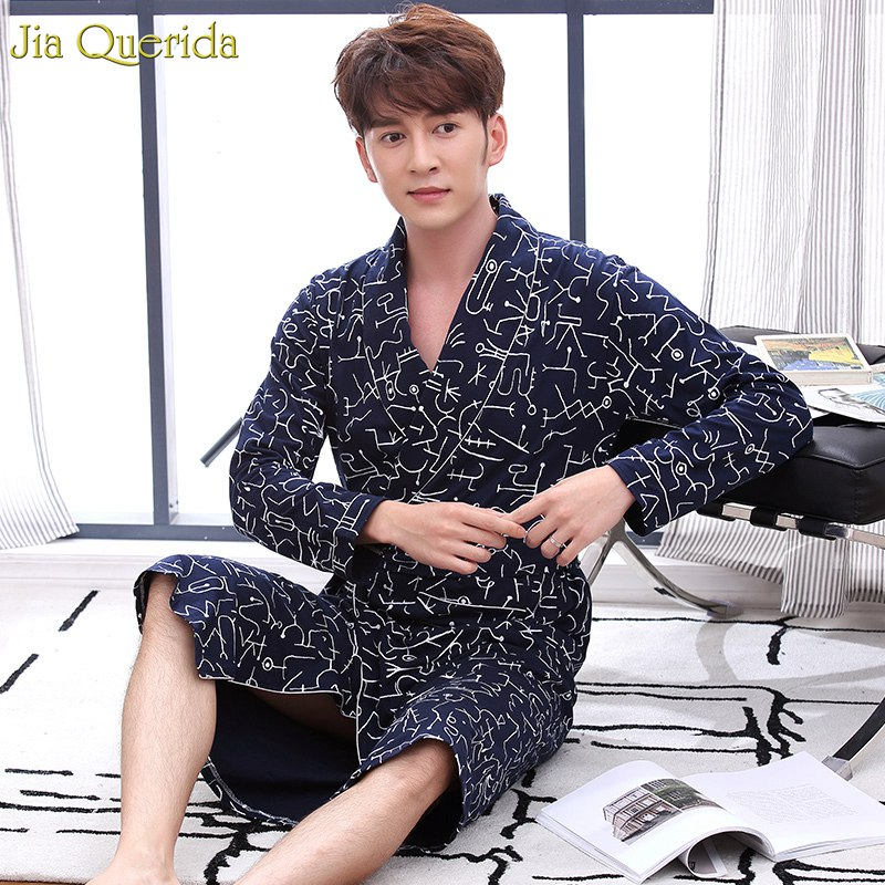100% Cotton Bathrobe Long Sleeves Dressing Gown Men Lapel Belted Printing Bath Robe Japanese Kimono Men Nightgown Bathrobes Male(China)