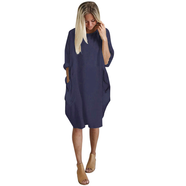 Autumn Womens dresses Pocket Loose Dress Ladies Crew Neck Casual Long girl Tops Dress female fashion big vestido