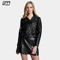 Fitaylor Biker Pu Faux Leather Jacket Women 2018 Slim Thick Short Motorcycle Leather Jackets Femme Black
