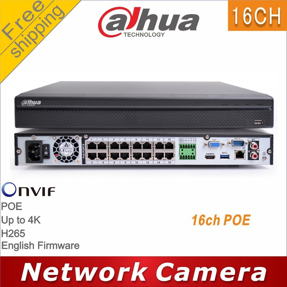 Free shipping Dahua DH NVR4216 16P HDS2 replace NVR4216 16P 4KS2 16CH POE NVR H265 4K 8MP IP camera cctv network vedio recorderpoe hdpoe 16chpoe poe -