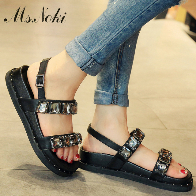 Ms.Noki Summer Style Women Sandals Flip Flops 2017 Sexy Open Toe Slides Female Fashion Crystal Sandals Platform Comfortable