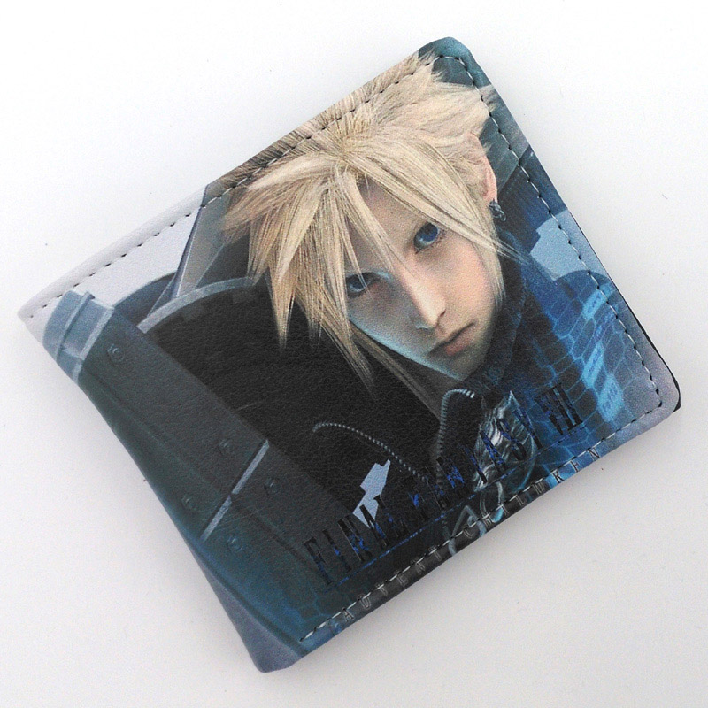 Anime Folding Wallet/Final Fantasy VII Cloud Strife, Sephiroth High Quality Short PU Purse Free Shipping