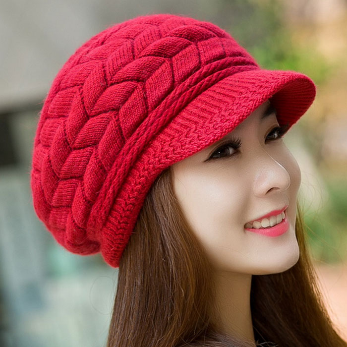 Women Winter hat Ladies Warm Knit Crochet Slouch Baggy Beanie Female Cap bonnet Beanies Thick Skullies Baggy Knitted Hat