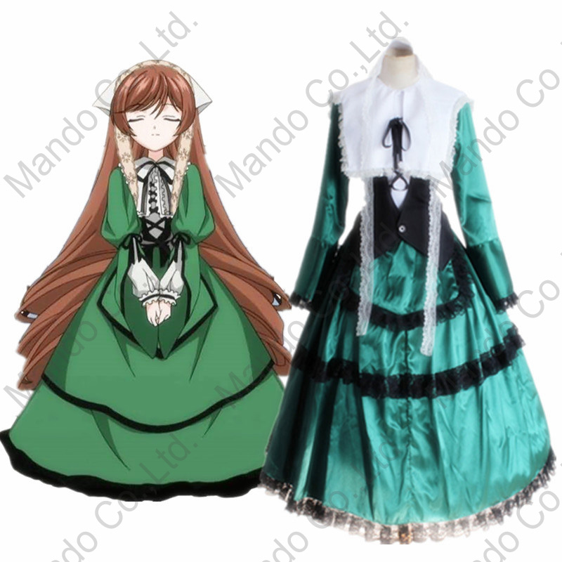 Anime rozen maiden Sui sei seki Jade Stern Cosplay Costume Girls Green Maid Fancy Dress Women Halloween Cosplay Party Outfit