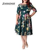 Plus Size O Neck Half Sleeve Printed A Line Women S Dress
