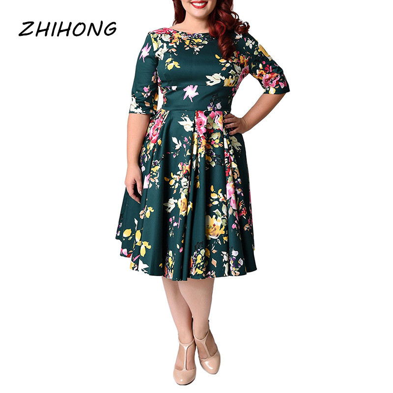 ZHIHONG Plus Size O neck Half Sleeve Printed A line Women s Dress