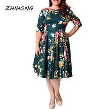 ZHIHONG Plus Size O-neck Half Sleeve Printed A-line Women's Dress