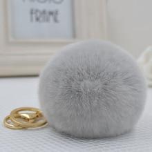 8CM Genuine rex Rabbit fur ball Gold color keychain cute Car key ring Bag Pendant fur pom fluffy key chains