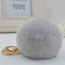 8CM Genuine rex Rabbit fur ball Gold color keychain cute Car key ring Bag Pendant fur pom fluffy key chains