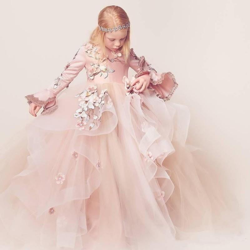 Luxury Fluffy Flower Girl Dresses For Weddings 3D Floral Appliques Long Sleeve Girl's Birthday Dress Gorgeous Pageant Gown luxury fluffy flower girl dresses for weddings 3d floral appliques long sleeve girl s birthday dress gorgeous pageant gown