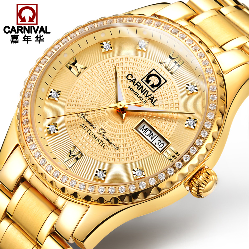 Здесь можно купить  2018 New Automatic Watch Men Gold Mechanical Watches Stainless Steel Diamond sapphire Waterproof Wristwatch Mens Clock kol saati  Часы