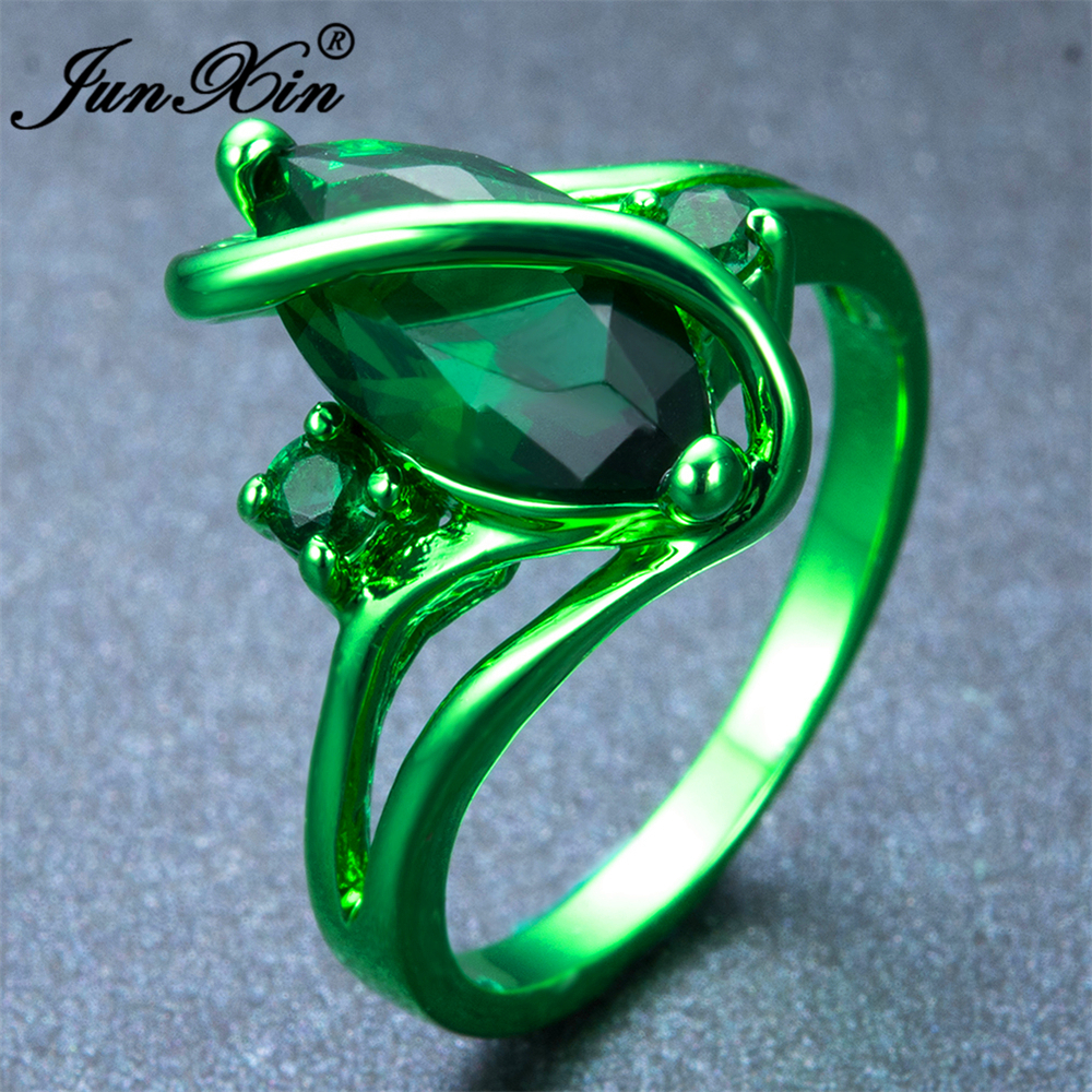 junxin male female unique ring green gold filled vintage wedding engagement rings for men and women - Unique Wedding Rings For Men