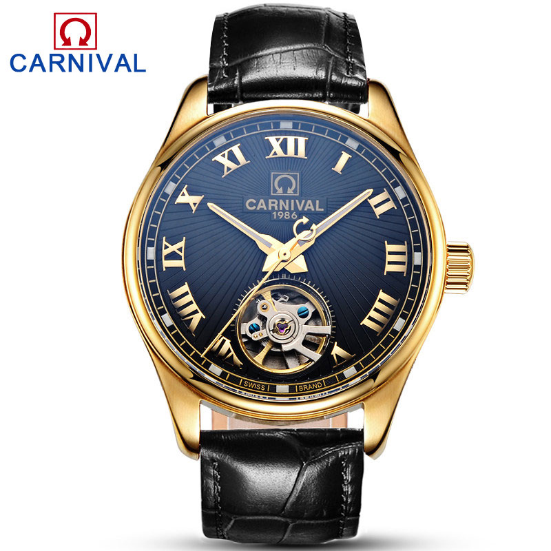 Carnival Brand Mechanical Watches Fashion Sports Leather Strap Automatic Watch Men Luminous Clock relogio automatico masculino цена и фото