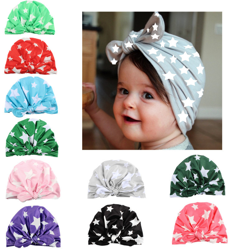 Dot Stars Pattern Baby Hat Newborn Bow knot Elastic Cotton Baby Beanie Cap Multicolor Infant Turban Hats 1 PC