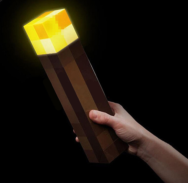 2018 New Light Up Minecrafte Action Figure Torch 28CM LED Hand Held Wall Mount Popular Minecrafte Model Toys For Children Drop