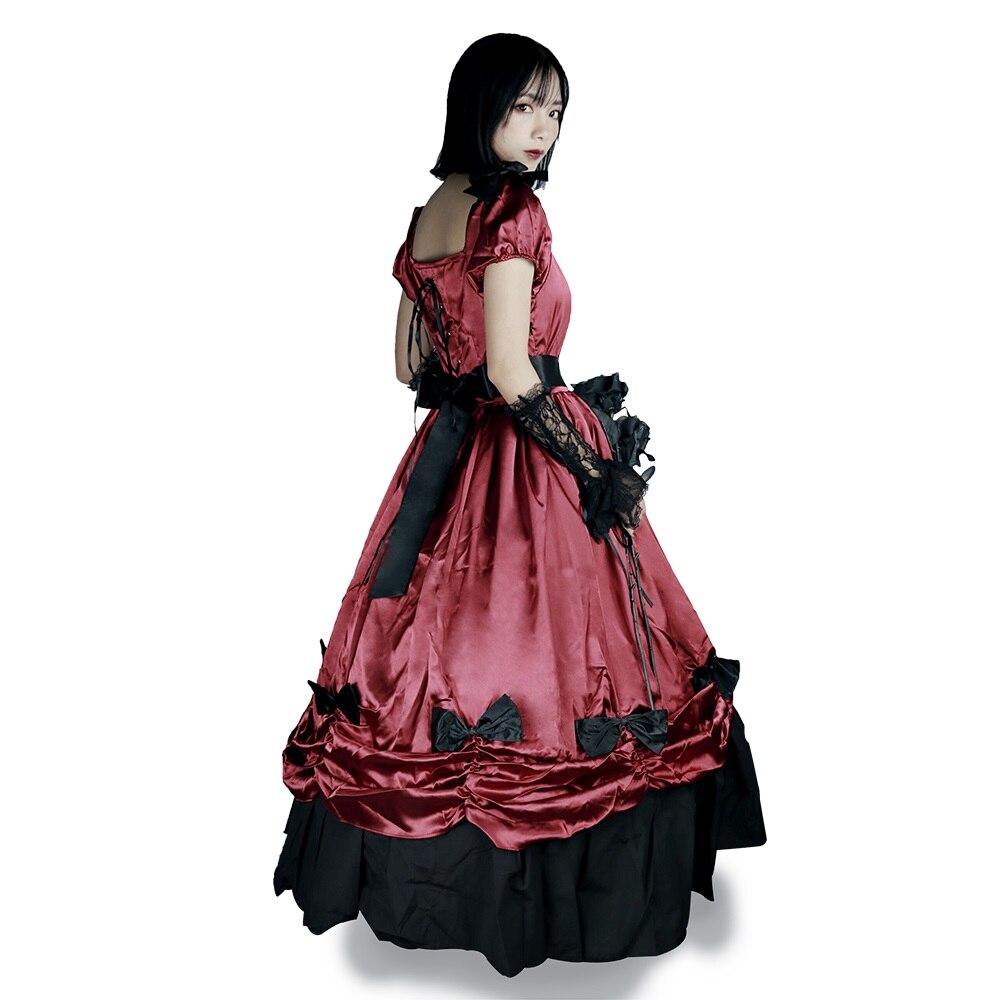 Robes Lolita victoriennes pour femmes Vintage gothique Court robe de bal Costume Palace Cosplay fête longues robes rouges avec agitation