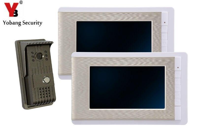 YobangSecurity 7 Inch Wired Video Door Phone Doorbell Video Door Entry System Intercom Home Security Kit 1 camera 2 monitor