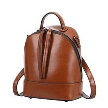 2017 г. винтажные масло воск Разделение кожа мини-рюкзак универсальная лаконичная сумка Мода Mochila Escolar женские дорожные рюкзаки